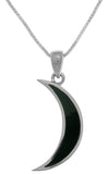Jewelry Trends Sterling Silver Dark Crescent Moon Pendant with Black Onyx on 18 Inch Box Chain Necklace