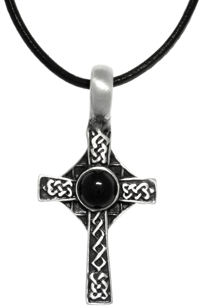 Jewelry Trends Pewter Celtic Cross Pendant with Black Orb on Black Leather Necklace