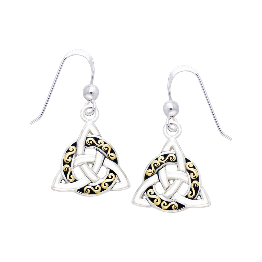 Jewelry Trends Sterling Silver and Gold-Plated Celtic Triquetra Trinity Knot Dangle Earrings
