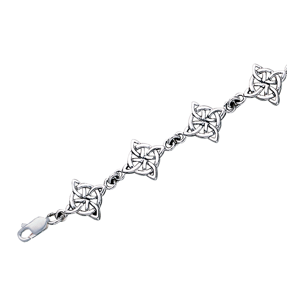 Jewelry Trends Sterling Silver Good Luck Celtic Four Point Quaternary Knot Bracelet