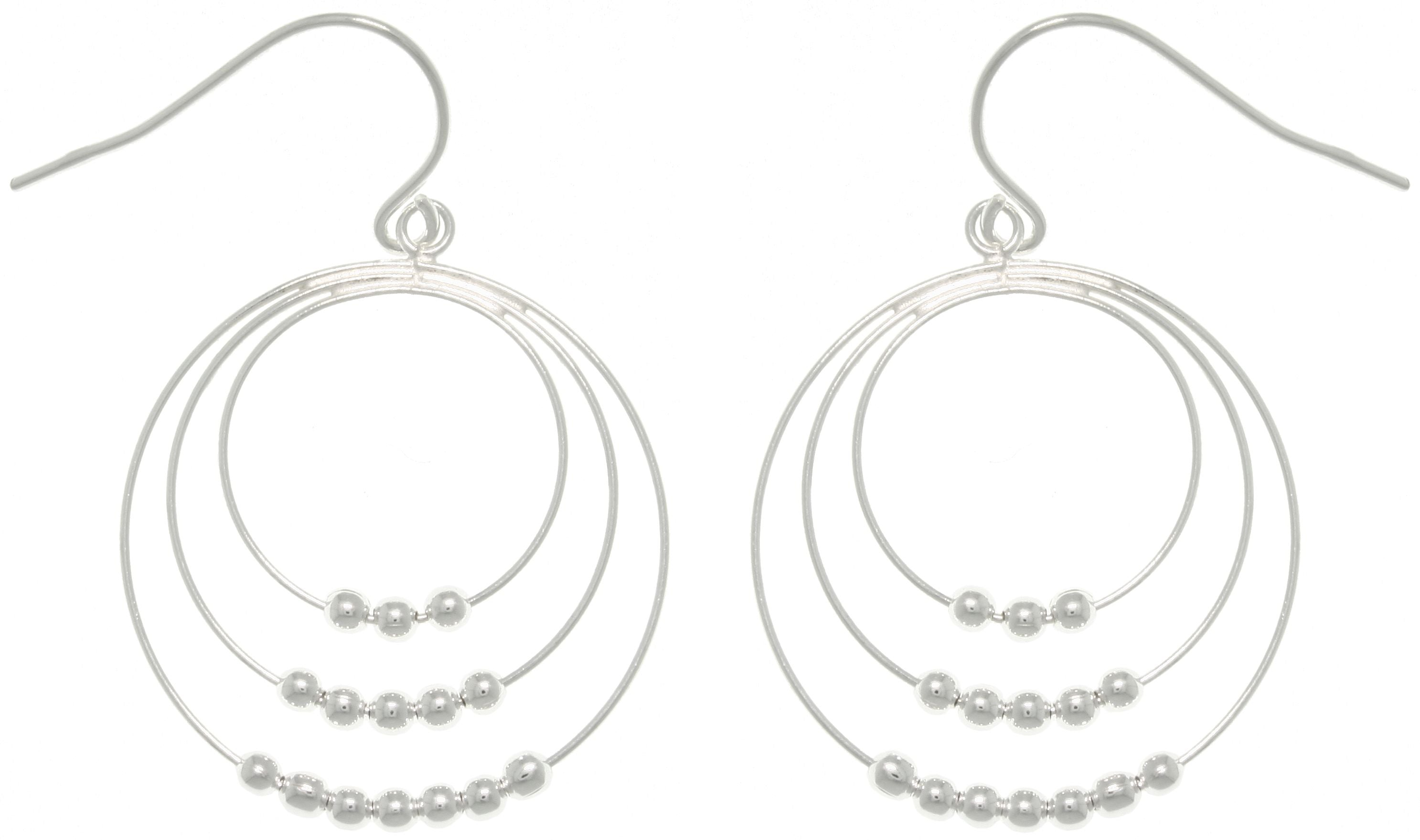Jewelry Trends Sterling Silver Graduated Hoop and Bead Dangle Earrings