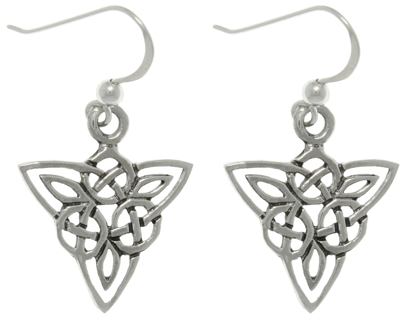 Jewelry Trends Sterling Silver Celtic Triangle Knot Life Circle Dangle Earrings