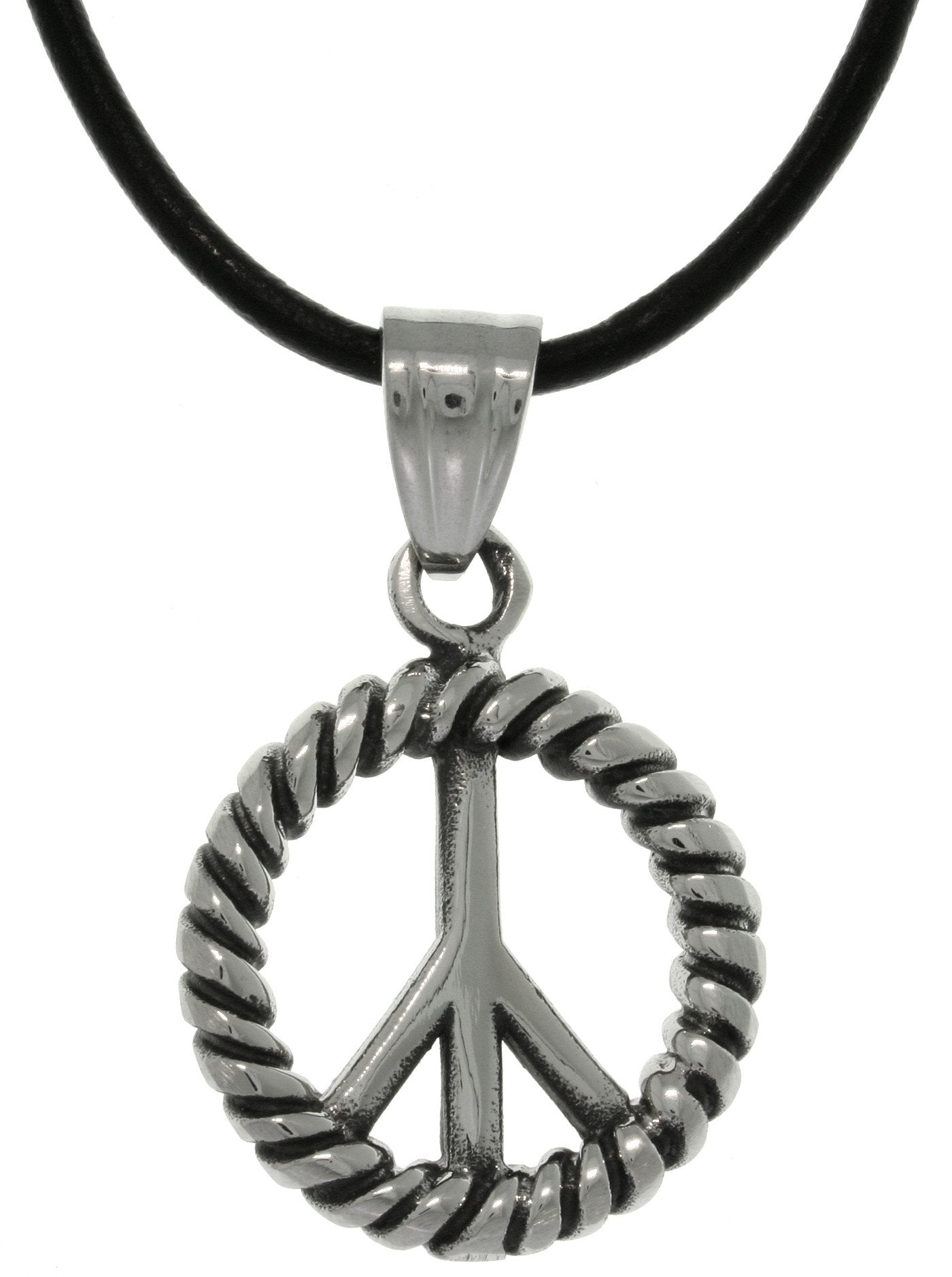 Jewelry Trends 316L Stainless Steel Peace Symbol Medallion Pendant with 18 Inch Black Leather Cord Necklace