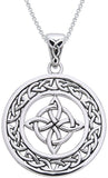 "Jewelry Trends Sterling Silver Celtic Good Luck Knot Round Pendant on 18"" Box Chain Necklace"