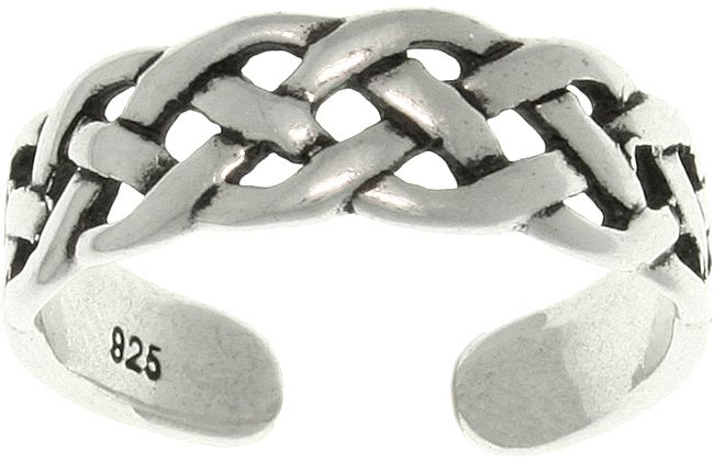 Jewelry Trends Open Celtic Weave Knot Adjustable Sterling Silver Toe Ring or Midi Pinky Ring