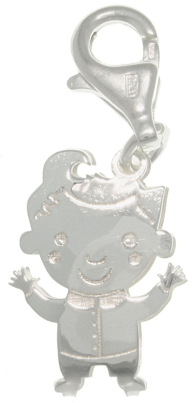 Jewelry Trends Sterling Silver Jewelry Accessory Charm Laser-cut Boy with Curl