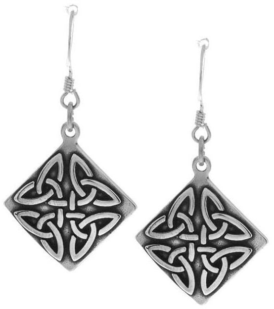 Jewelry Trends Sterling Silver Celtic Trinity Triangle Knot Square Dangle Earrings