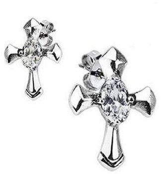 Jewelry Trends Stainless Steel Celtic Cross and Prong Set CZ Stud Earrings
