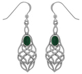 Jewelry Trends Sterling Silver and Created Malachite Celtic Knotwork Dangle Earrings