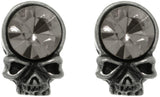 Jewelry Trends Pewter Crystal Skull Head Unisex Stud Post Earrings One Pair