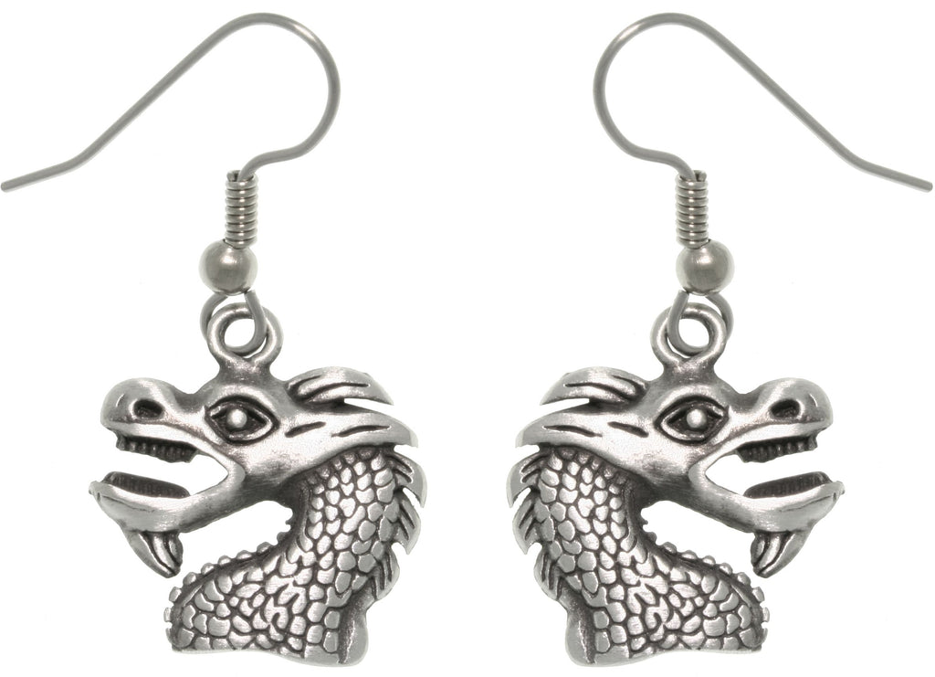 Jewelry Trends Pewter Unisex Dragon Head Earrings