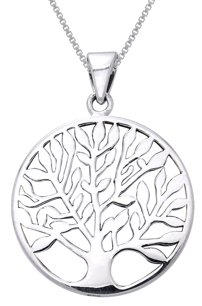 Jewelry Trends Sterling Silver Large Celtic Tree of Life Pendant on 18 Inch Box Chain Necklace
