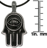 Jewelry Trends Pewter Unisex Fatima Hand with Eye Pendant with 18 Inch Black Leather Cord Necklace