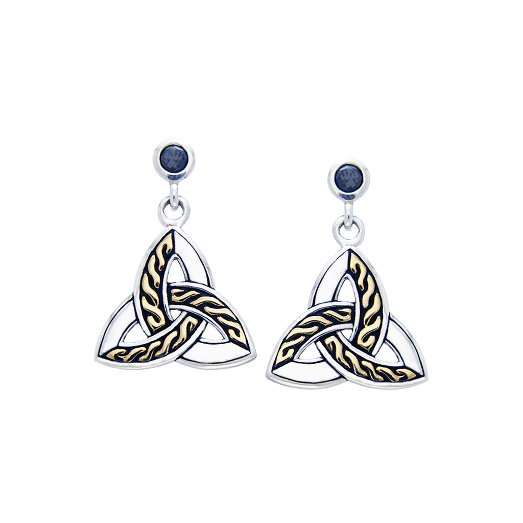 Jewelry Trends Sterling Silver and Gold Plated with Black CZ Celtic Trinity Knot Dangle Earrings