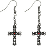 Jewelry Trends Pewter Celtic Cross with Braided Knot Work Chain Dangle Earrings with Red Crystals