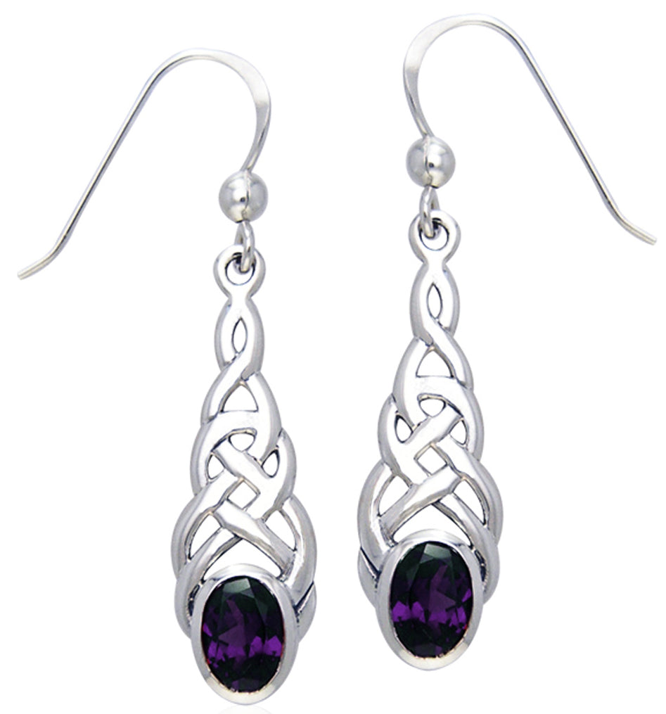 Jewelry Trends Sterling Silver Celtic Linear Knot Work Elegant Dangle Earrings with Amethyst