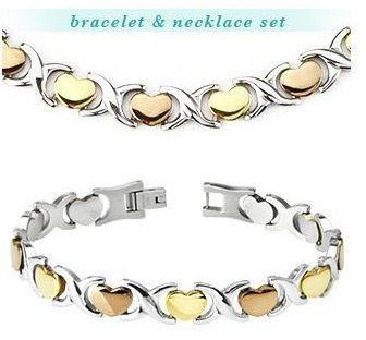 Jewelry Trends 316L Stainless Steel Tri-Tone Hearts Bracelet & Necklace Combo Set
