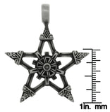 Jewelry Trends Pewter Viking Star Pendant on Black Leather Necklace