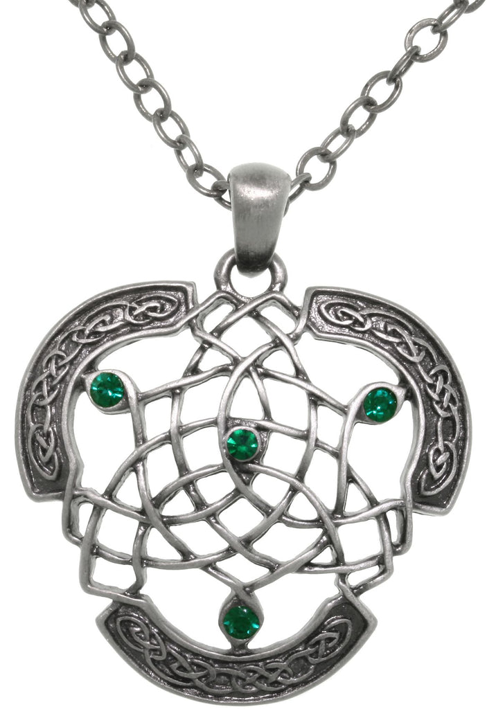 Jewelry Trends Pewter Celtic Dream Catcher Pendant with Green Crystals on 24 Inch Chain Necklace