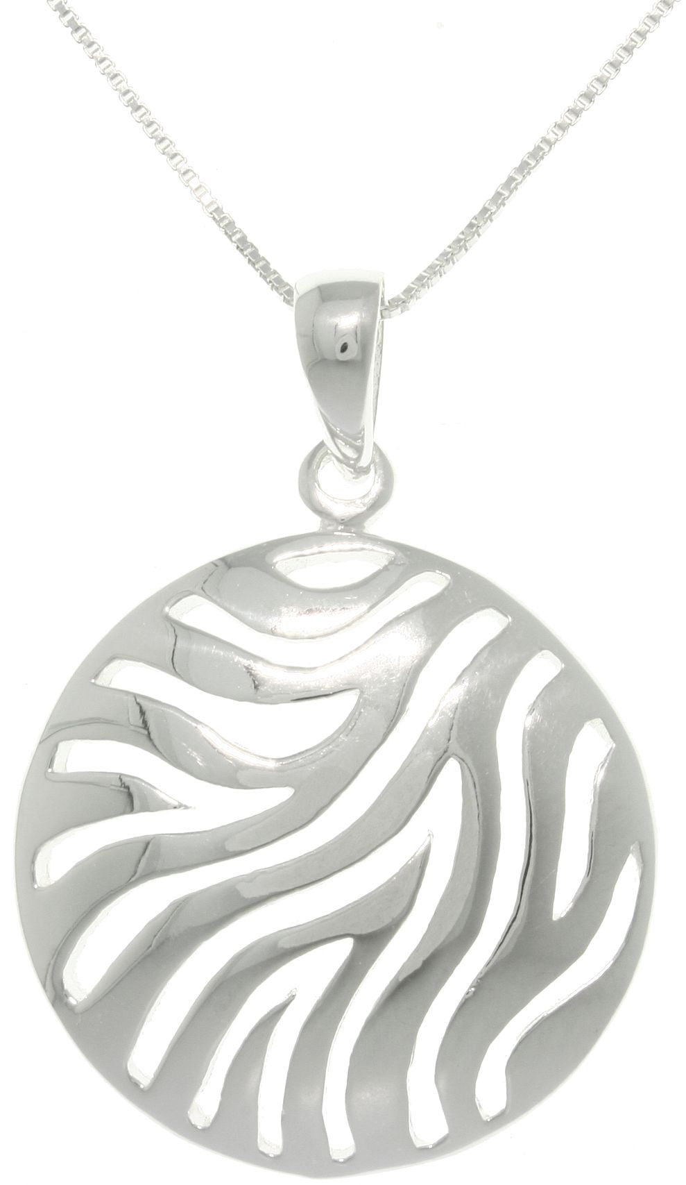 Jewelry Trends Sterling Silver Zebra Print Circle Pendant on 18-inch Necklace