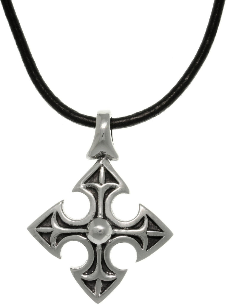 Jewelry Trends 316L Stainless Steel Medieval Cross Pendant with 18 Inch Black Leather Cord Necklace