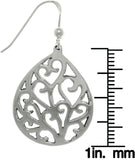 Jewelry Trends Sterling Silver Heart Vine Teardrop Dangle Earrings