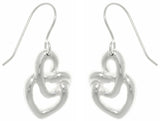 Jewelry Trends Sterling Silver Love Knot Heart Dangle Earrings