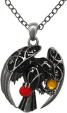 Jewelry Trends Pewter Celtic Black Raven with Treasures Pendant on 24 Inch Chain Necklace