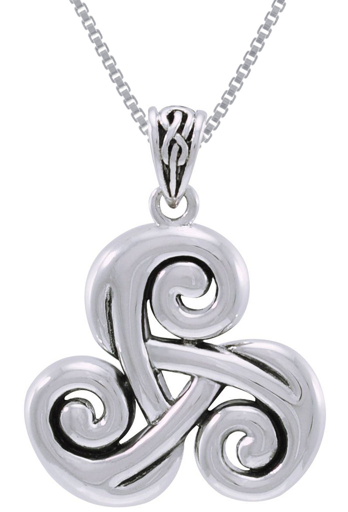 Jewelry Trends Sterling Silver Celtic Spiral Triskele Trinity Knot Pendant on 18 Inch Box Chain Necklace