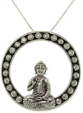 Jewelry Trends Sterling Silver Sitting Buddha Pendant with 18 Inch Box Chain Necklace