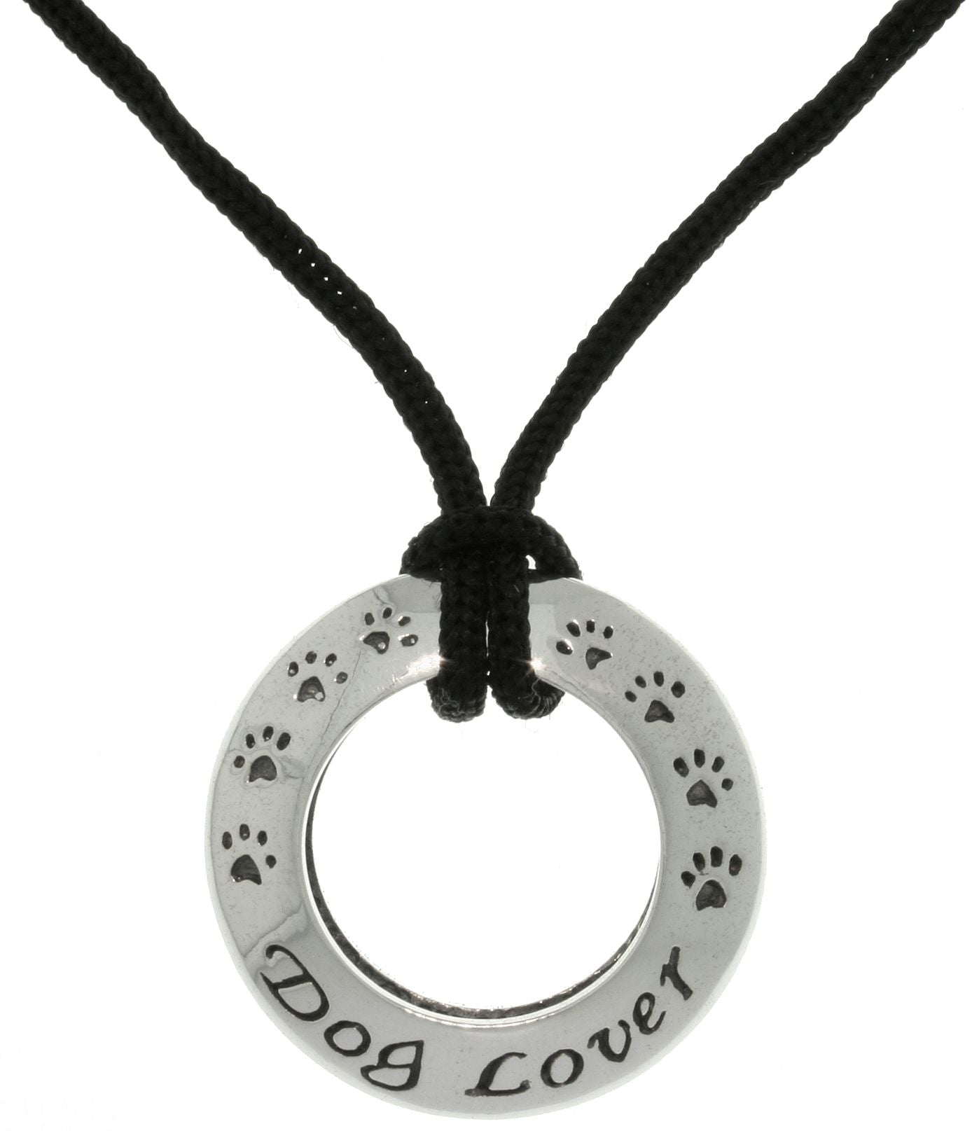 Jewelry Trends Sterling Silver Dog Lover Ring Pendant with Black Cord Necklace
