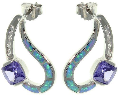 Jewelry Trends Sterling Silver Created Blue Opal Post Earrings with Clear and Amethyst Purple CZ