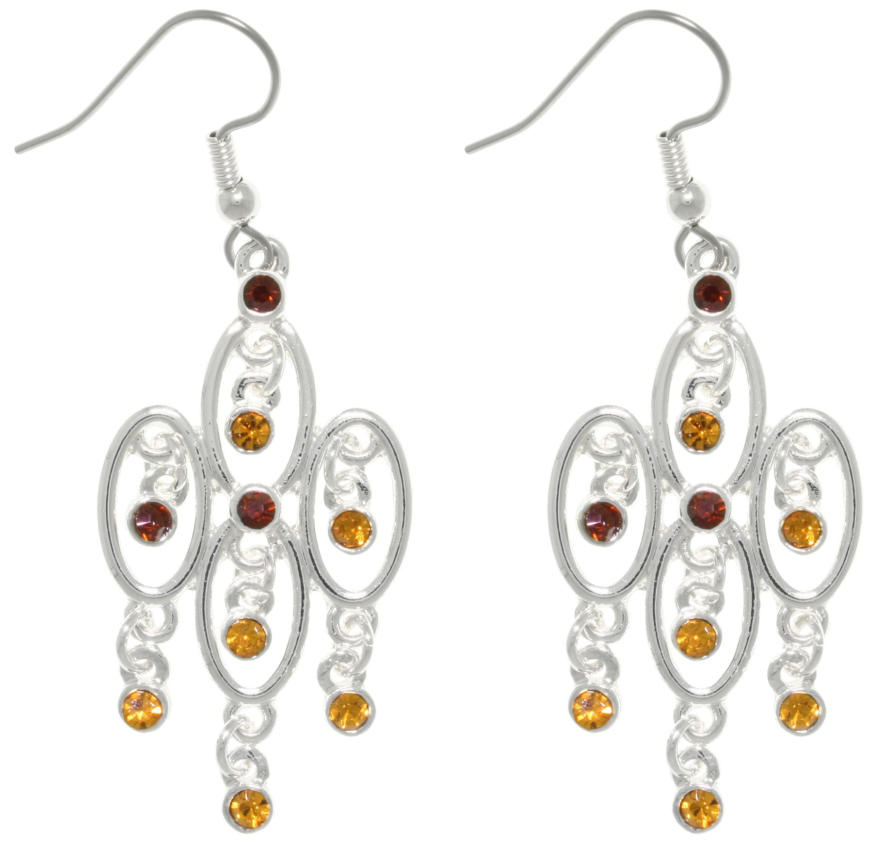 Jewelry Trends Silver Plated Pewter Chandelier Dangle Earrings with Earth Tone Glass Rhinestones