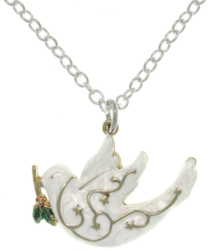 Jewelry Trends Pewter White Enamel Peace Dove Charm with 18 Inch Chain Necklace