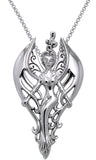 Jewelry Trends Sterling Silver Angel Pendant with Elegant Swirl Wings on 18 Inch Box Chain Necklace