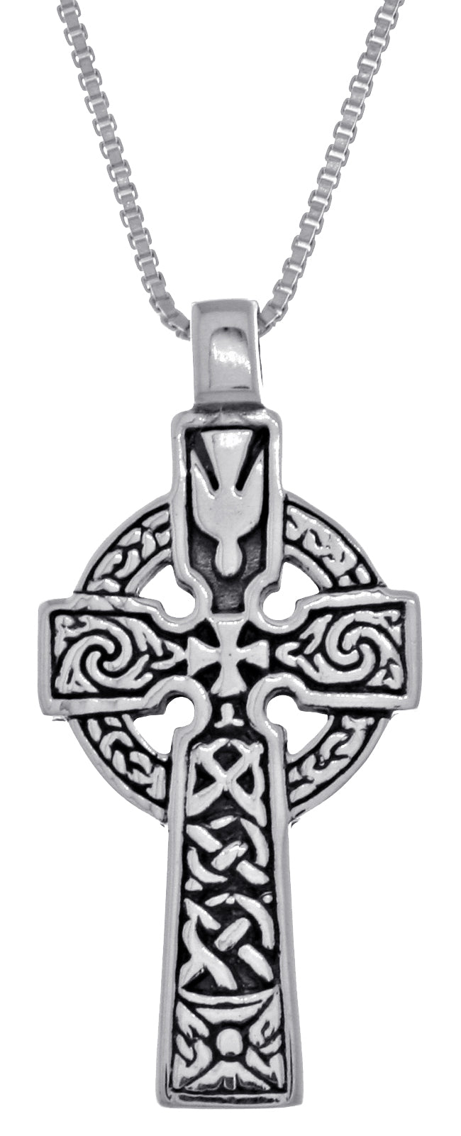 Jewelry Trends Sterling Silver Celtic Cross Double Sided Pendant on 18 Inch Box Chain Necklace