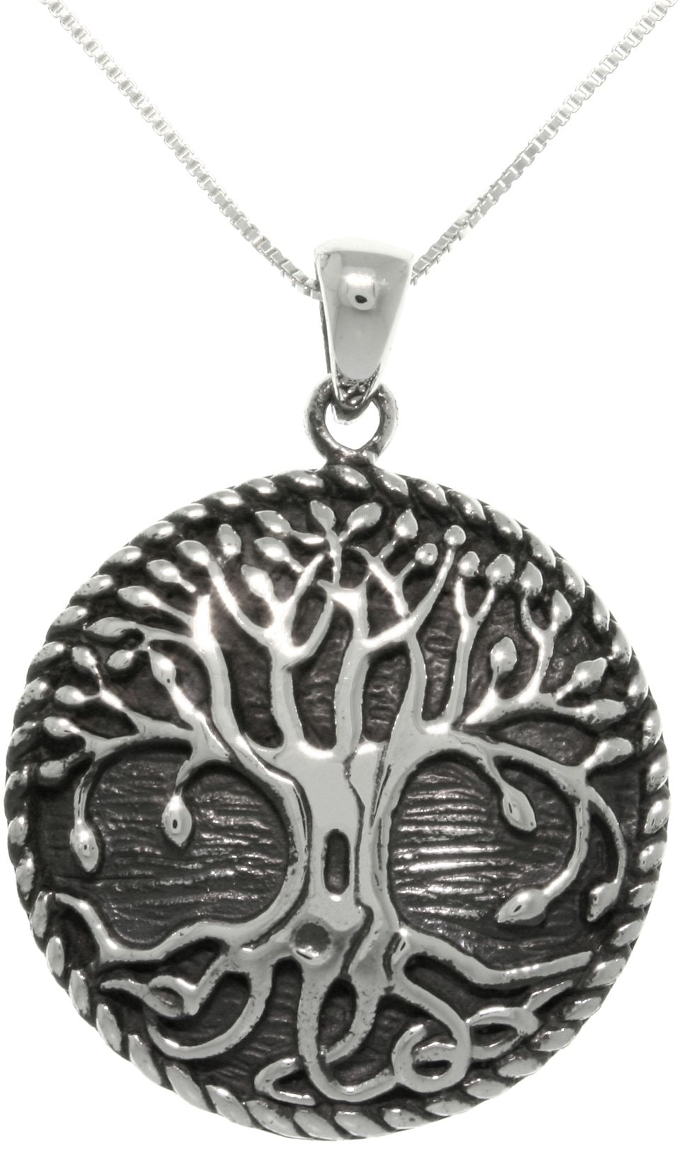 Jewelry Trends Sterling Silver Rope Edge Celtic Tree Of Life Pendant Necklace