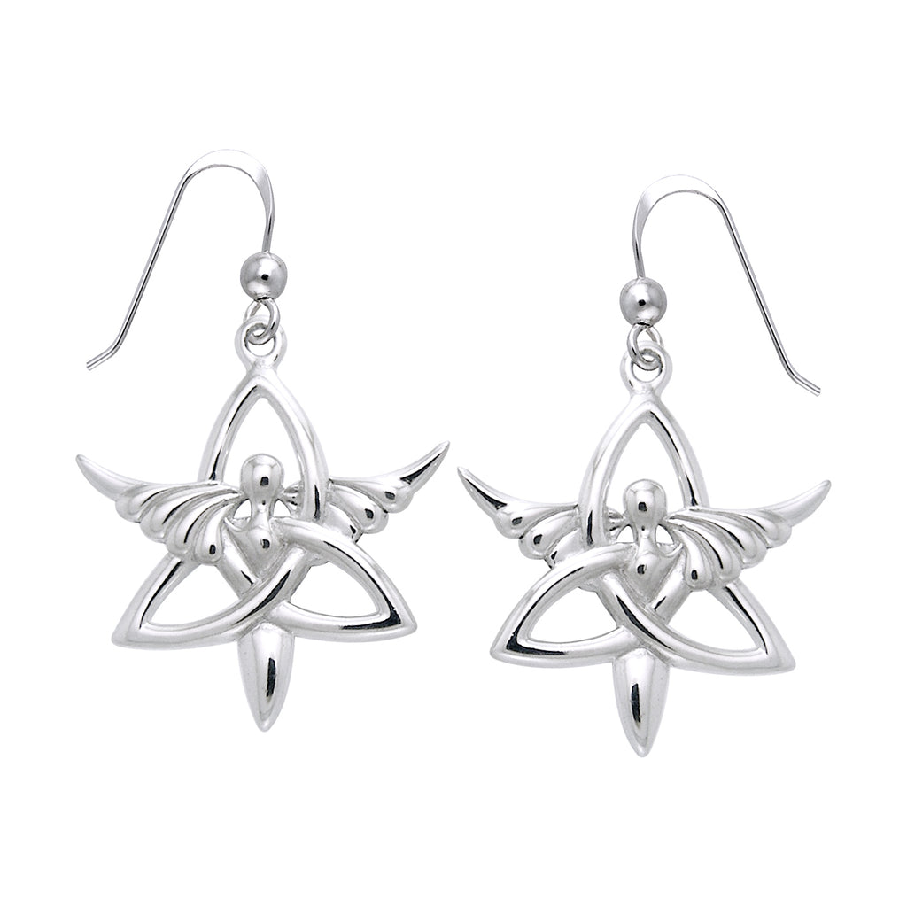 Jewelry Trends Sterling Silver Celtic Trinity Knot Angel Dangle Earrings Religious Jewelry