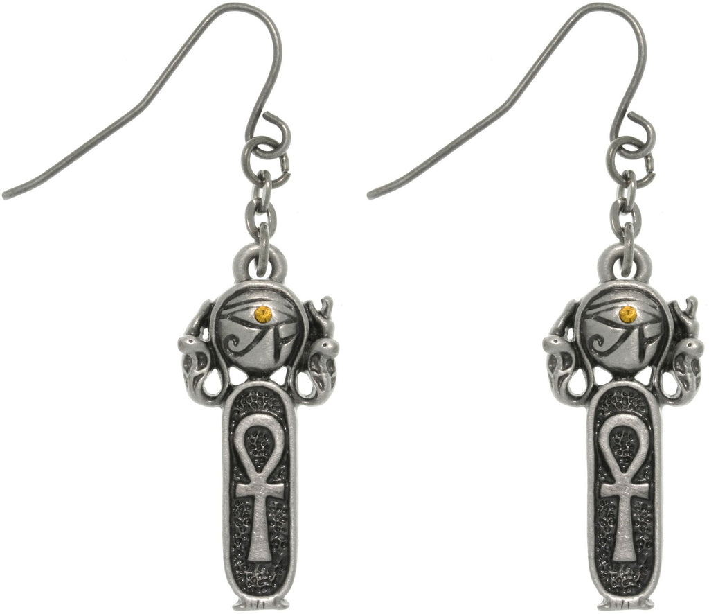 Jewelry Trends Pewter Rhinestone Egyptian Ankh Earrings