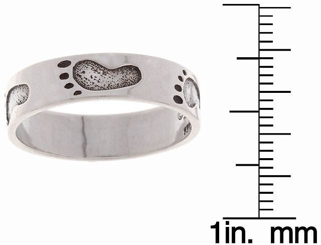 Jewelry Trends Sterling Silver Footprints in the Sand Band Ring Whole Sizes 5 - 10 - 5