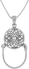 Jewelry Trends Sterling Silver Round Celtic Knotwork Charm Holder Pendant on 18 Inch Box Chain Necklace