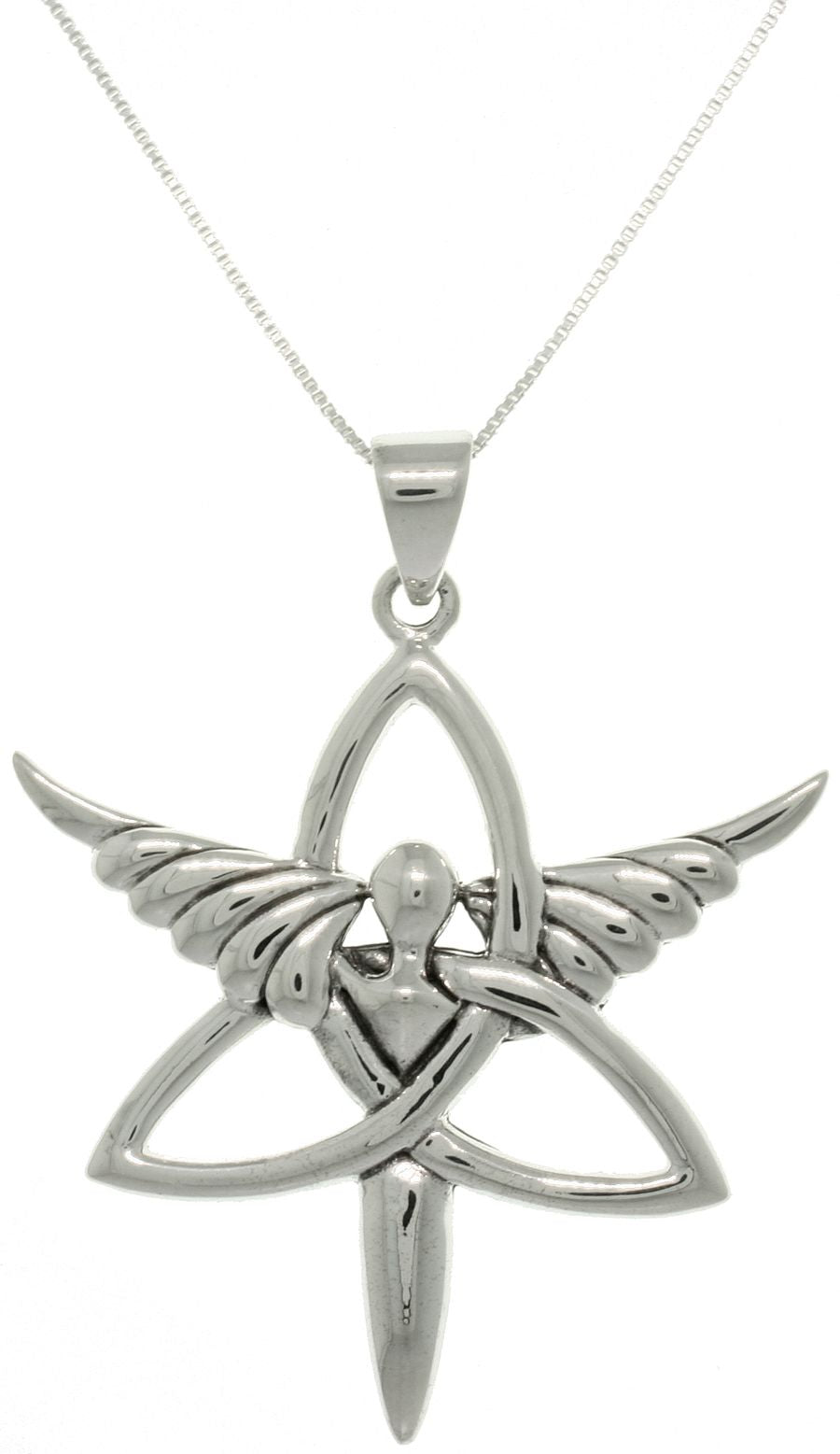 Jewelry Trends Sterling Silver Trinity Angel Celtic Knot Pendant on 18 inch Box Chain Necklace