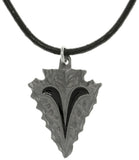 Jewelry Trends Pewter Arrowhead with Tribal Ram Horn Design Pendant on Black Leather Cord Necklace