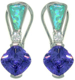 Jewelry Trends Sterling Silver Created Blue Opal and Clear and Purple Cubic Zirconia Elegant Leverback Earrings