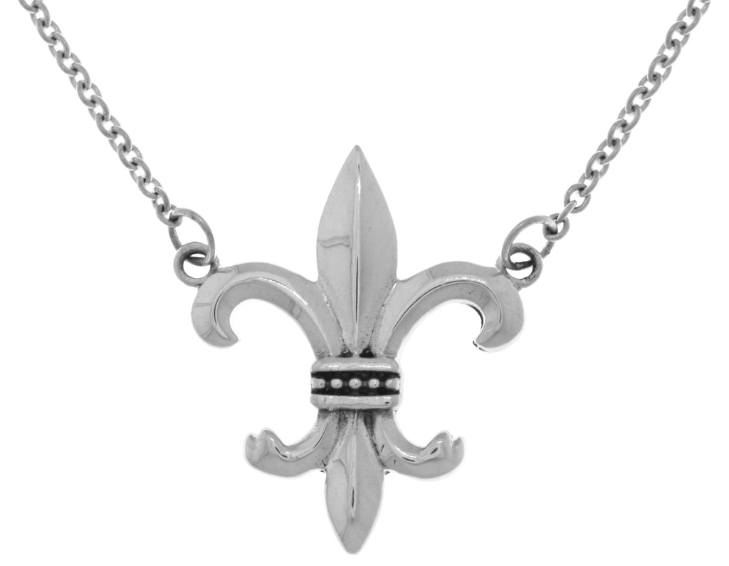 Jewelry Trends Sterling Silver Fleur De Lis Pendant Centered on Link Chain Necklace