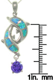 Jewelry Trends Sterling Silver Created Blue Opal and Amethyst Purple CZ Double Dolphin Pendant with 18 Inch Box Chain Necklace