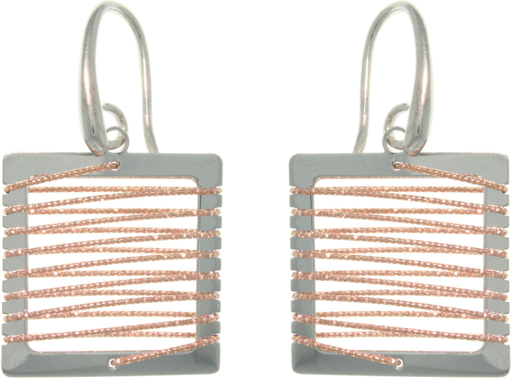 Jewelry Trends Sterling Silver and Rose Gold Square Dangle Earrings with Wrapped Sparkle Twisted Rope Design