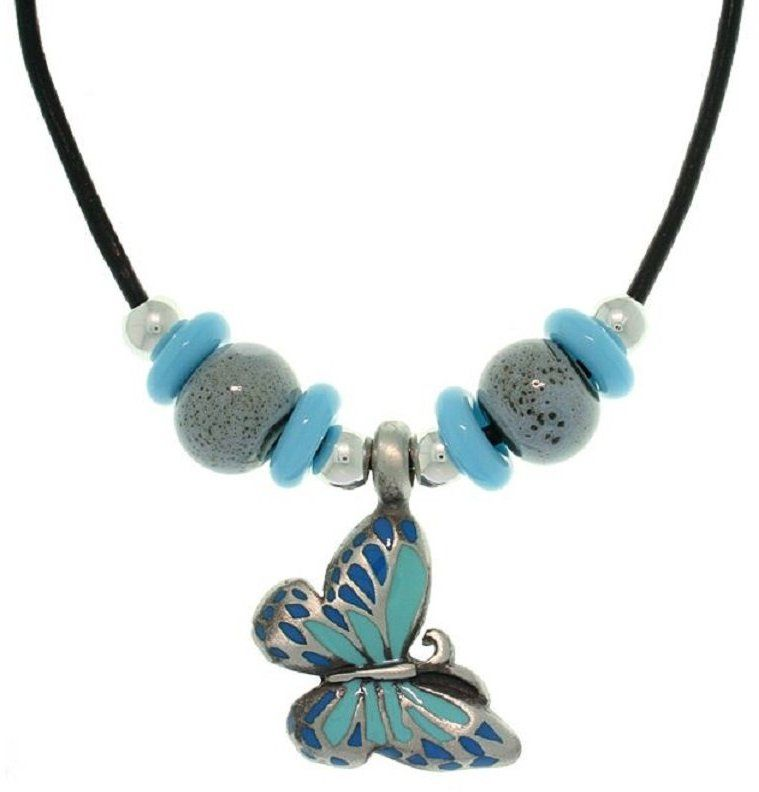 Jewelry Trends Pewter, Colored Enamel, Porcelain and Czech Glass Butterfly Necklace