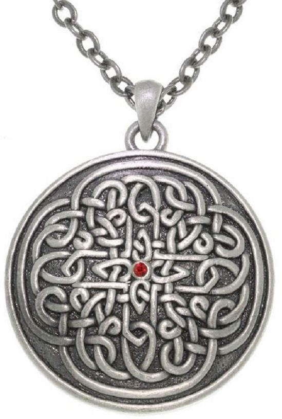 Jewelry Trends Pewter Sun Burst Celtic Knot Round Medallion Pendant on 24 Inch Chain Necklace