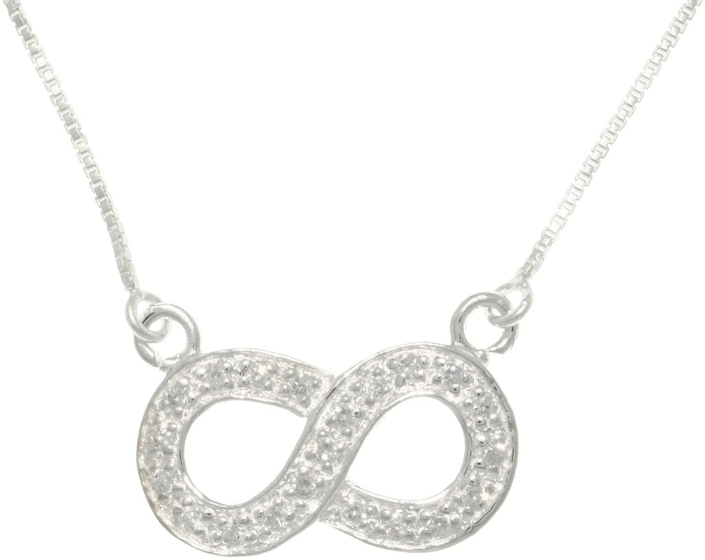 Jewelry Trends Sterling Silver Pave Set Cubic Zirconia Infinity Knot Stationary Charm on Chain Necklace